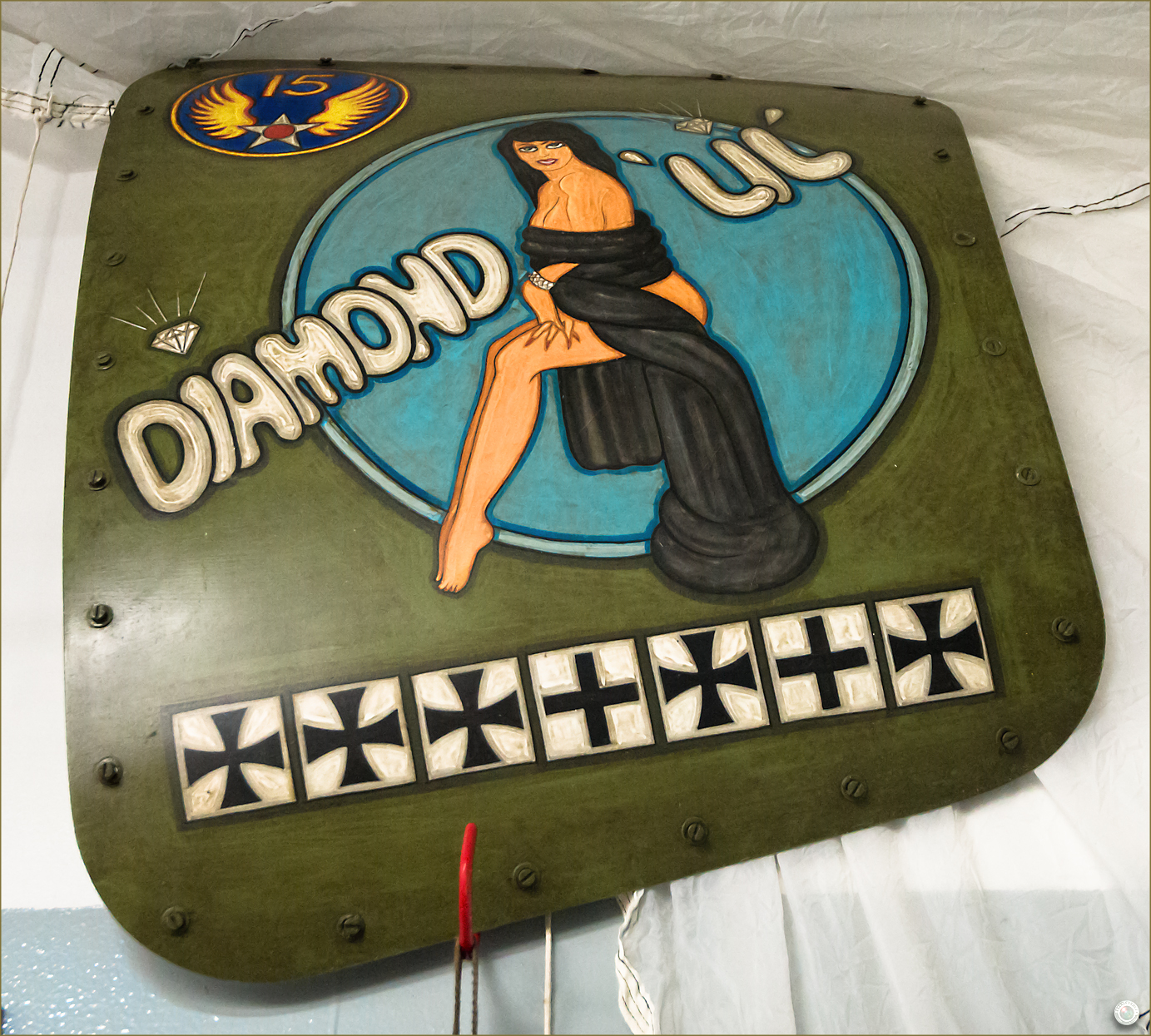 112 Russell Military Museum WW II Airplane Nose Art Diamond Lil