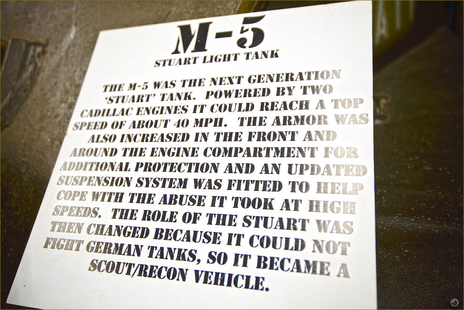 36 Russell Military Museum M-5 Stuart Light Tank