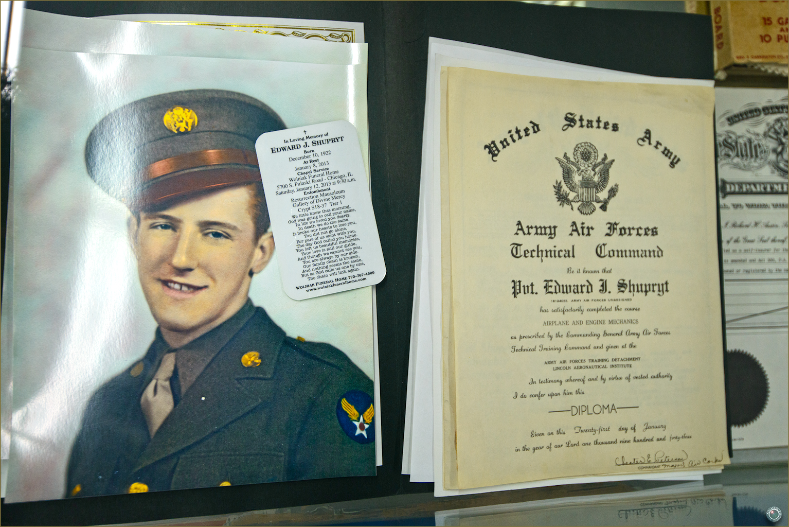 60 Russell Military Museum WW II Army Air Force Diploma
