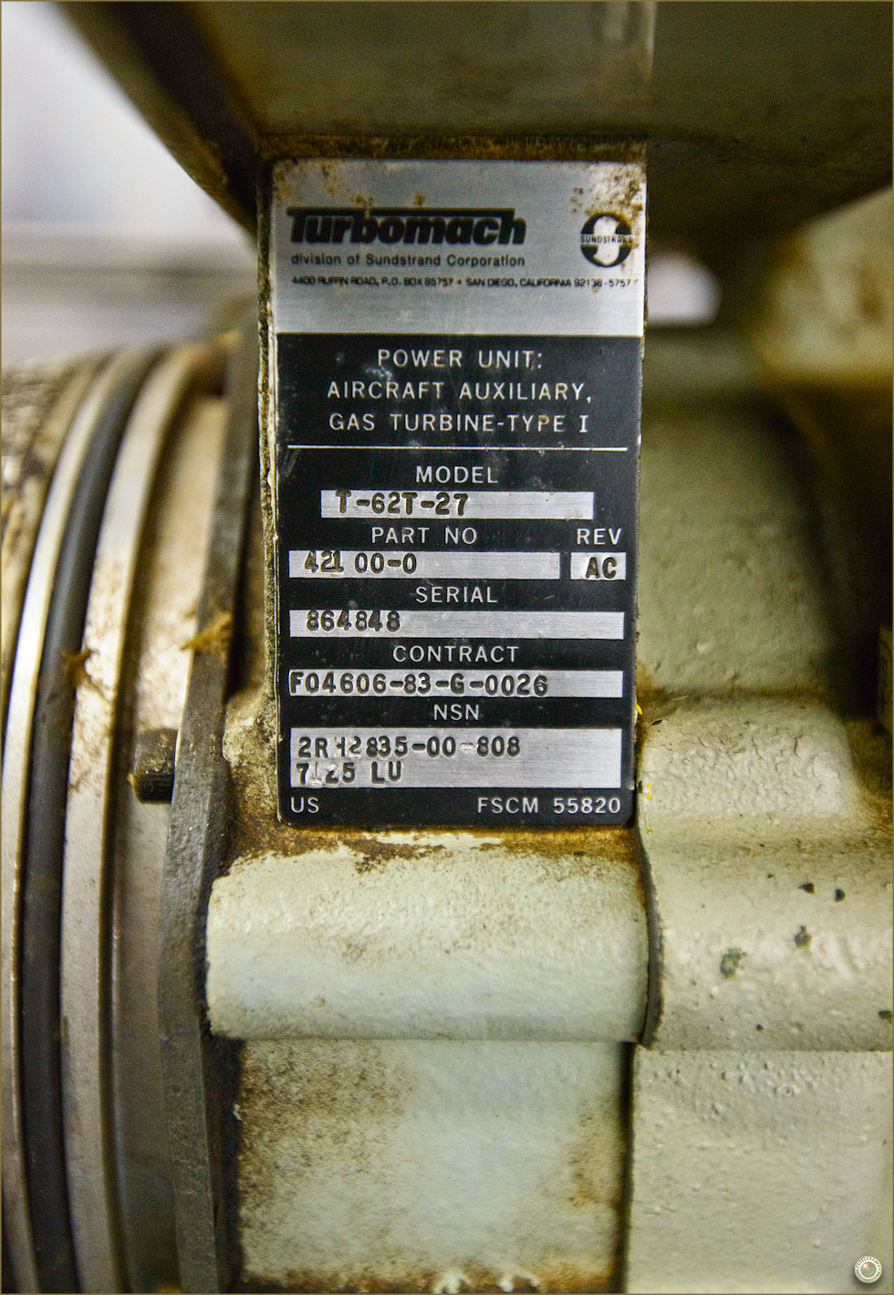 83 Russell Military Museum Turbomach Serial Number Label